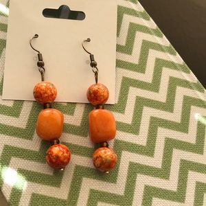 Hand Crafted Orange Stone w/Ceramic Beads Earrings